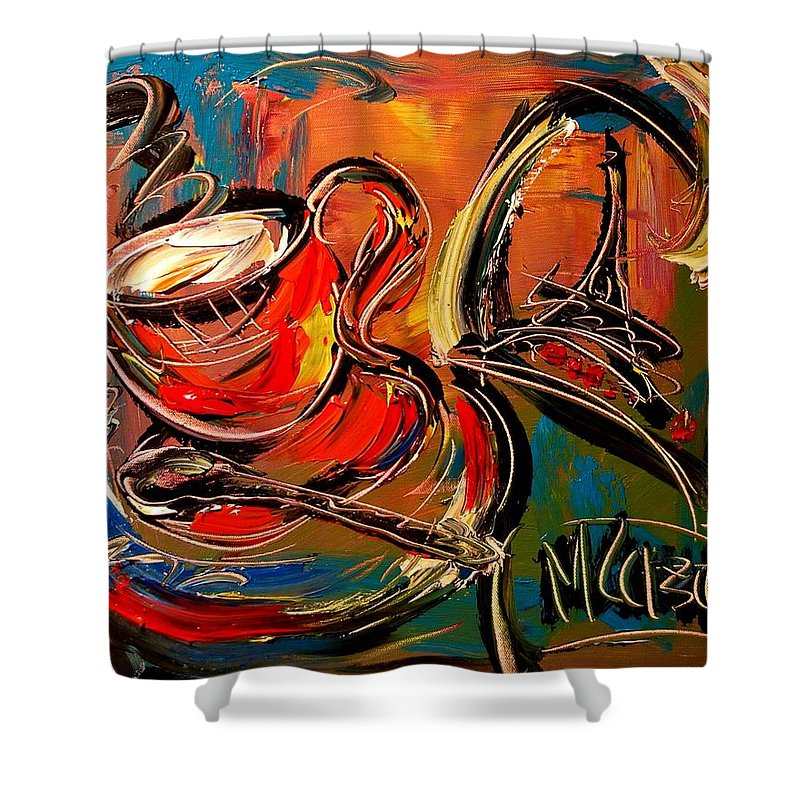 Nature Framed Prints Framed Prints Shower Curtain featuring the painting Coffee by Mark Kazav