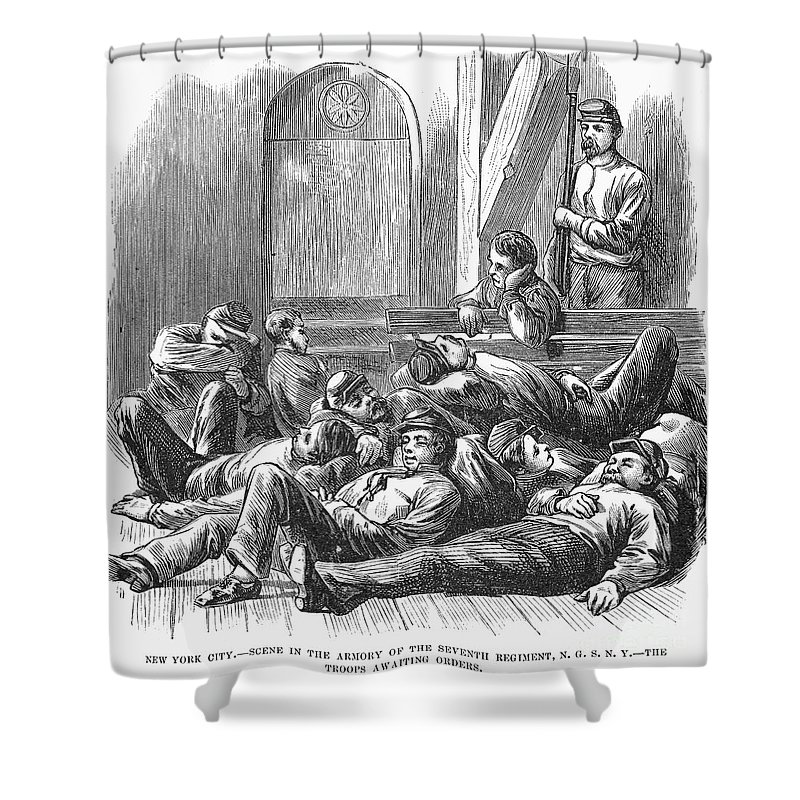 1877 Shower Curtain featuring the photograph Great Railroad Strike, 1877 by Granger