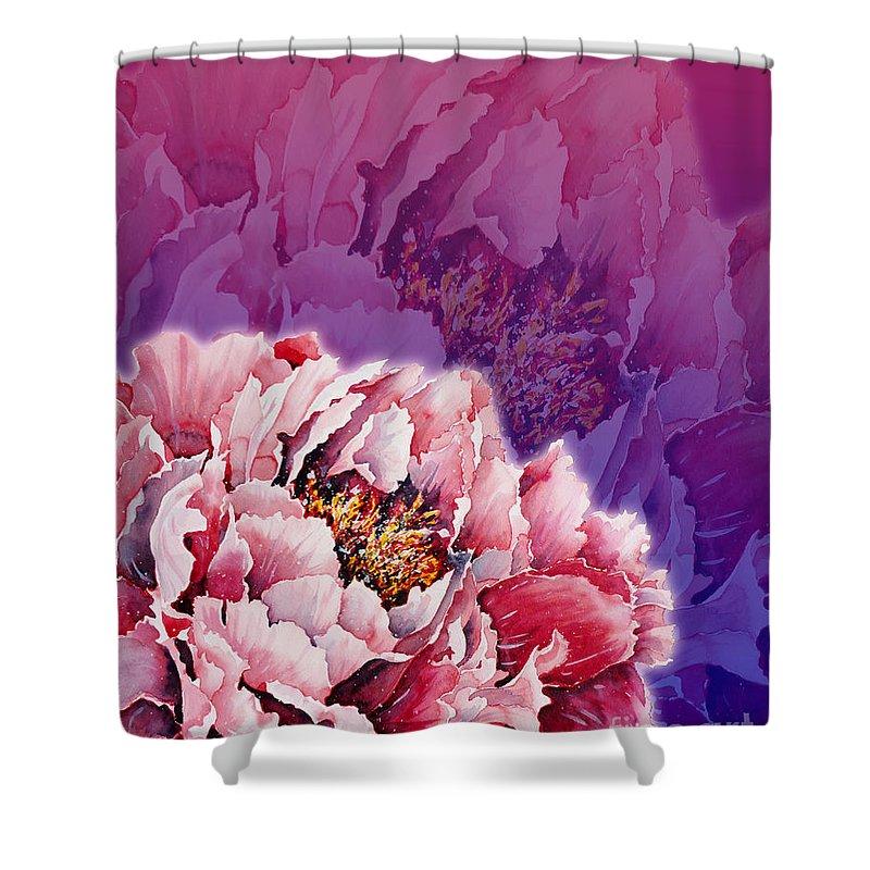 Peony Shower Curtain featuring the mixed media Peony by Zaira Dzhaubaeva