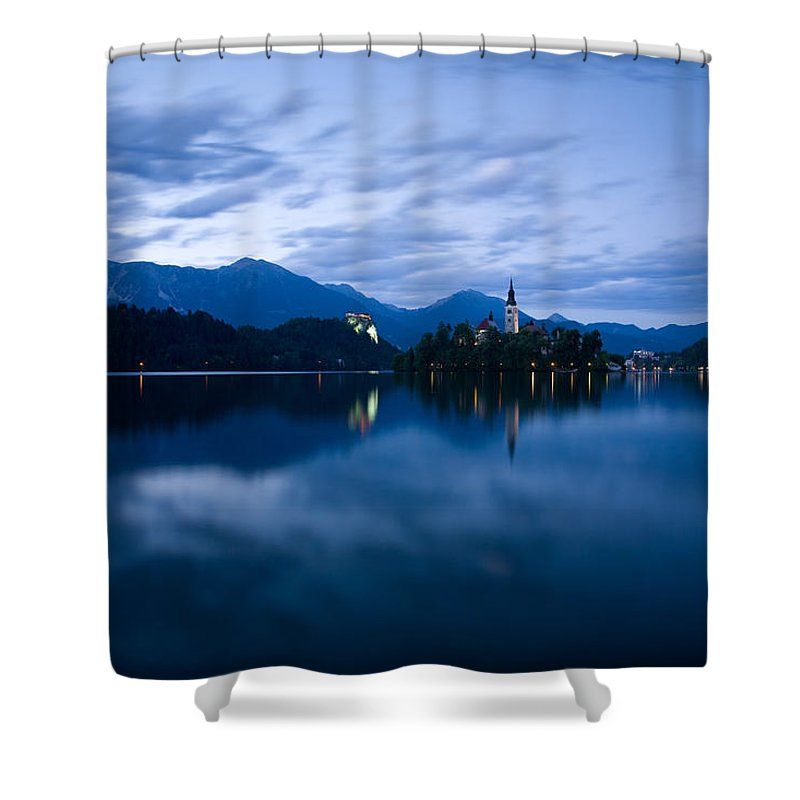 Bled Shower Curtain featuring the photograph Dusk Over Lake Bled by Ian Middleton