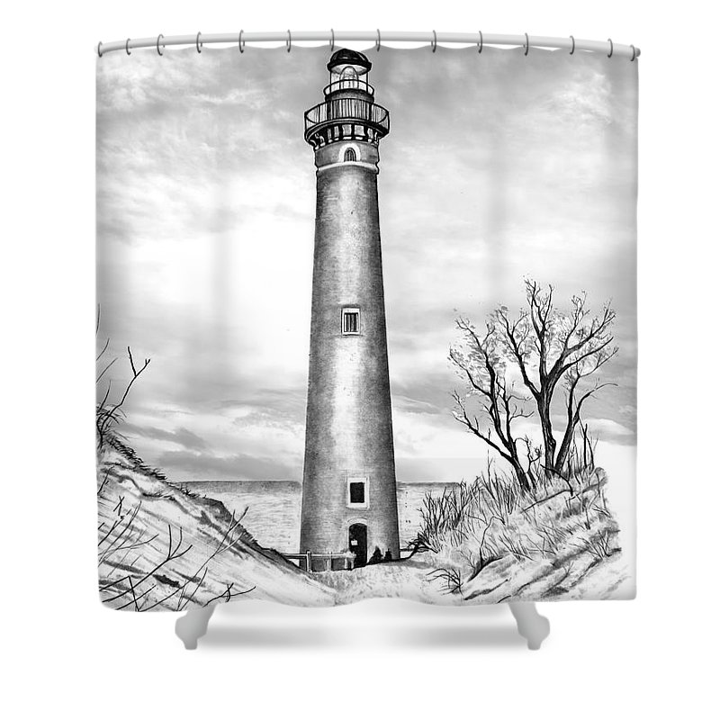 Little Point Sable Lighthouse Michigan Shower Curtain featuring the drawing Little Point Sable by Bill Richards