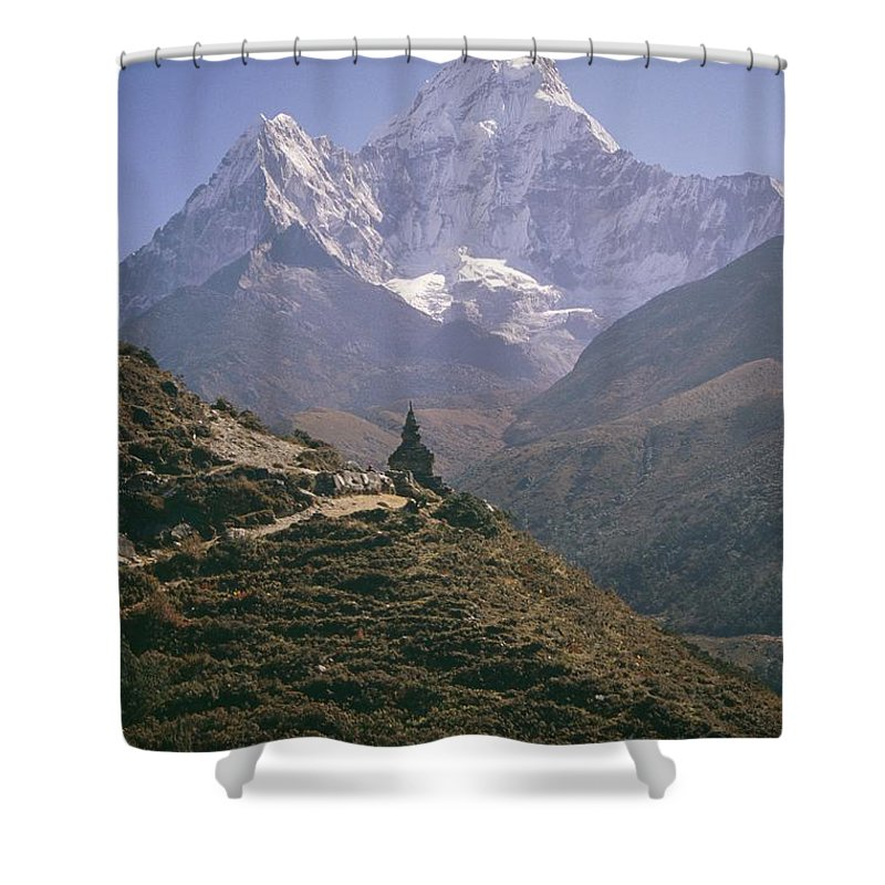 Shower Curtain featuring the photograph A Blue Sky And Mountain Range by Michael Klesius