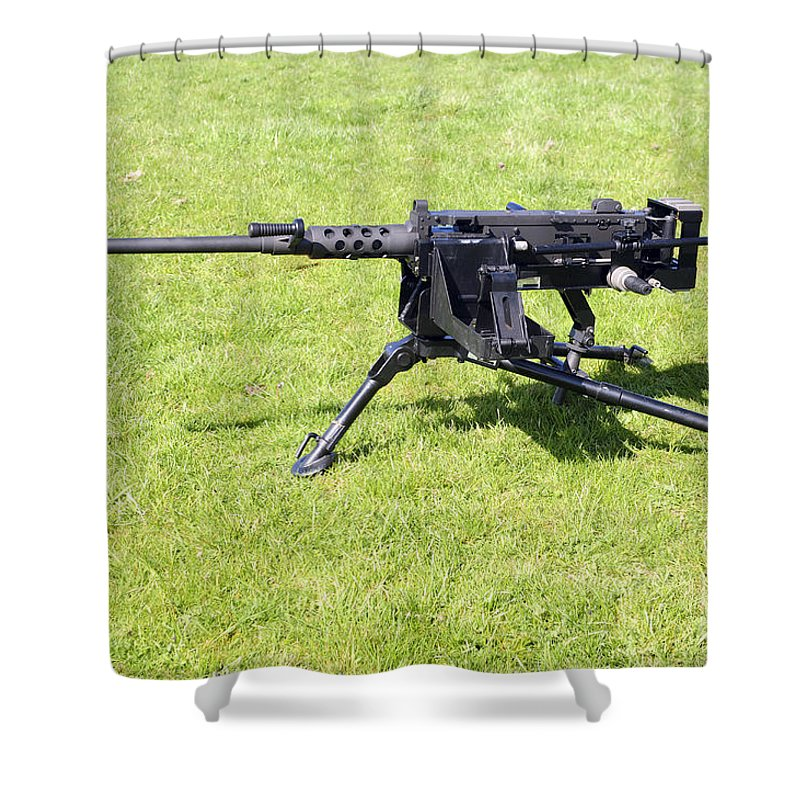 Weapon Shower Curtain Featuring The Photograph A Browning M2 .50 Caliber  Heavy Machine By Andrew
