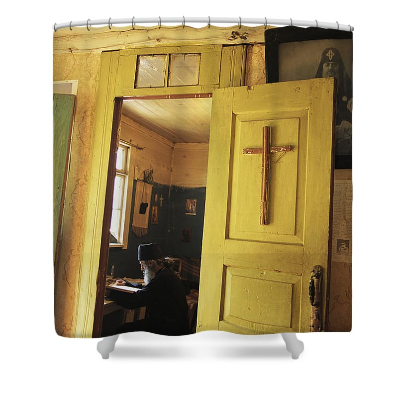 Commonwealth Of Independent States Shower Curtain featuring the photograph A Clergyman Studies by Randy Olson