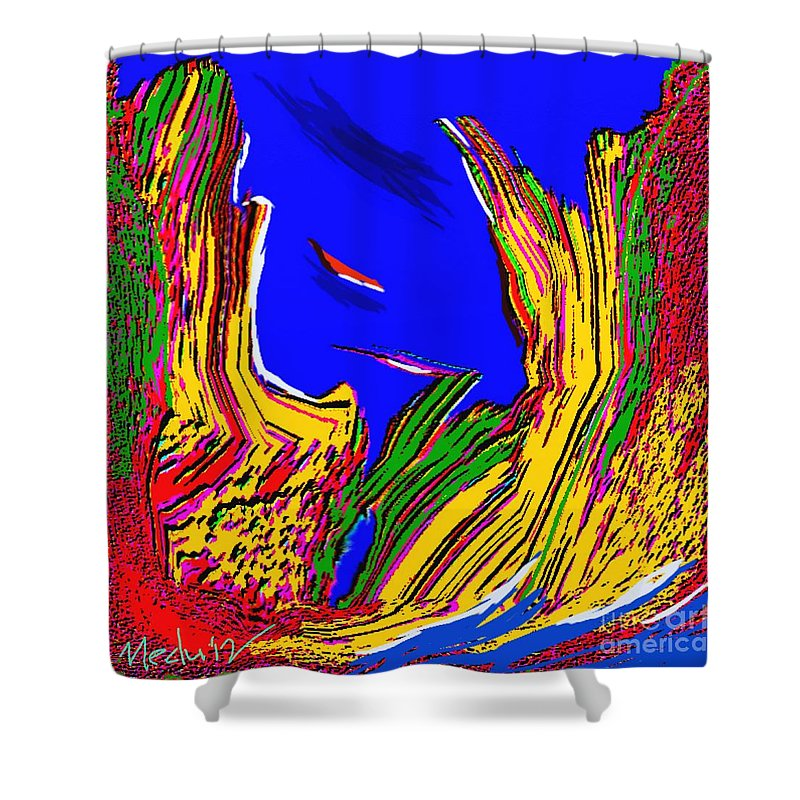 Paintings Shower Curtain featuring the painting A Coastal View by Nedunseralathan R