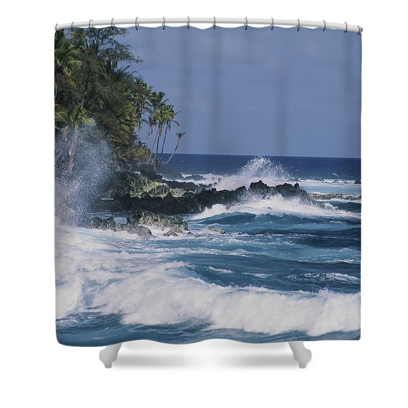 Pacific Islands Shower Curtain featuring the photograph A Coastal View Of The Southeast Corner by George F. Mobley