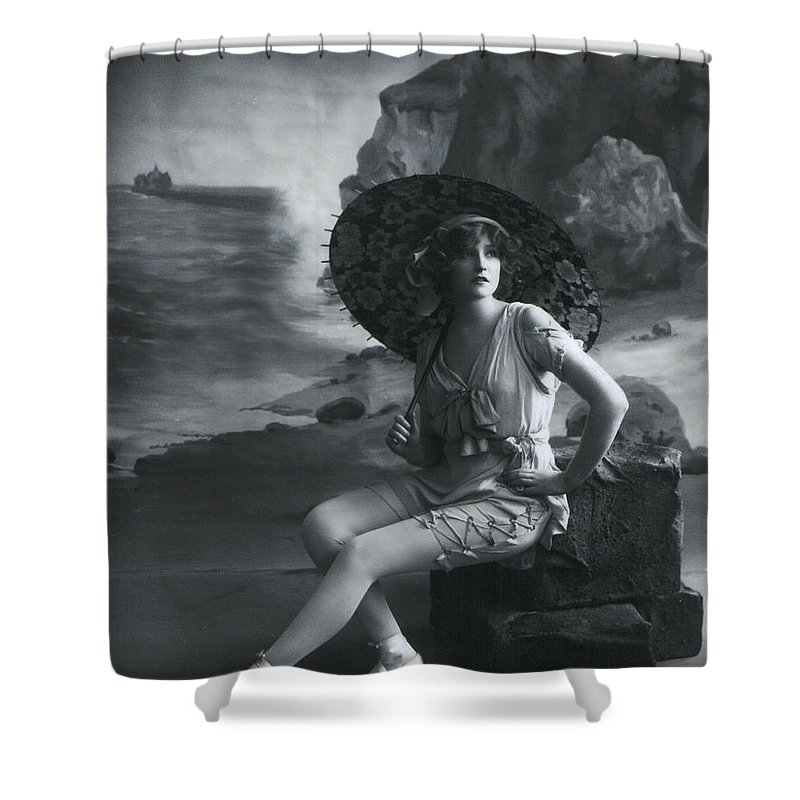 Young Woman Girl Female Lady Sexy Erotic Vintage Photograph Beach Umbrella Coast Shower Curtain featuring the photograph A Day At The Beach 1911 by Steve K