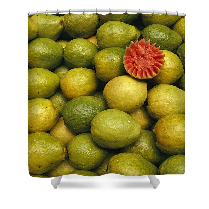 South America Shower Curtain featuring the photograph A Display Of Guavas In An Open Air by Richard Nowitz
