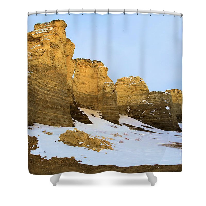 Monument Rocks Shower Curtain featuring the photograph A Dusting On Monument Rocks by Adam Jewell