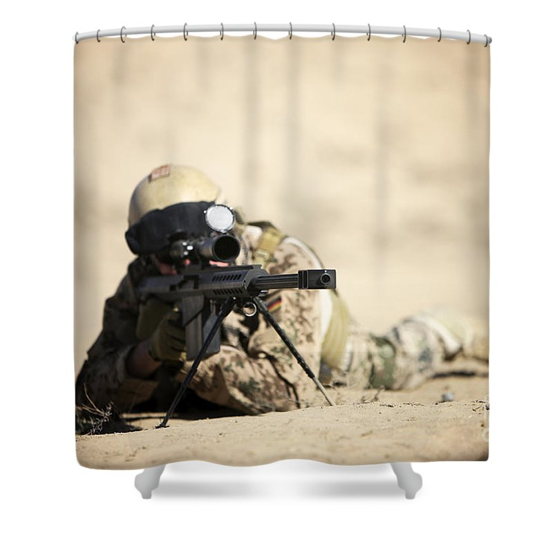 Army Shower Curtain featuring the photograph A German Soldier Sights In A Barrett by Terry Moore