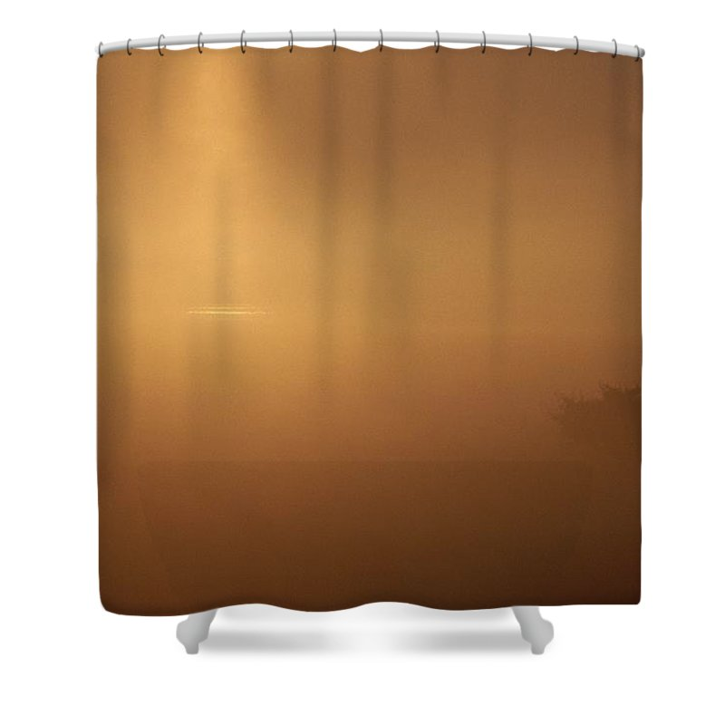 Europe Shower Curtain featuring the photograph A Golden Sunrise Through Mist by Mattias Klum