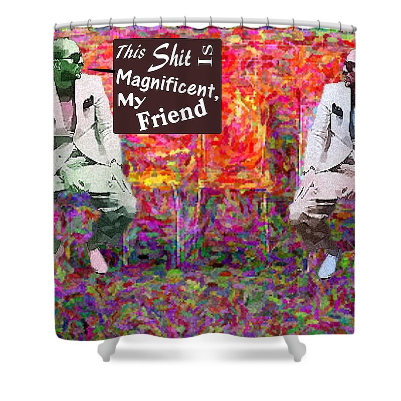 Tjkernan Shower Curtain featuring the digital art A Good Trip Downtown by Toby Kernan