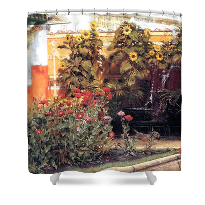 Sir Lawrence Alma Tameda Shower Curtain featuring the painting A Hearty Welcome by Sumit Mehndiratta