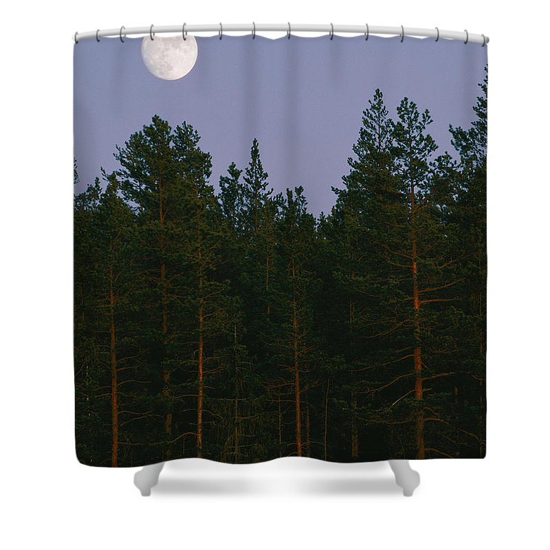 The Moon Shower Curtain featuring the photograph A Huge Moon, With Features Clearly by Mattias Klum