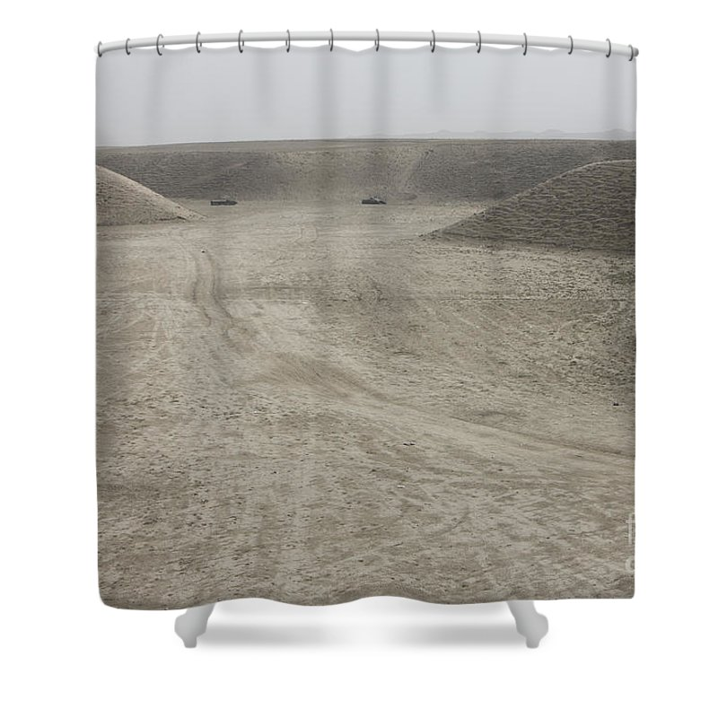 Afghanistan Shower Curtain featuring the photograph A Large Wadi Near Kunduz, Afghanistan by Terry Moore