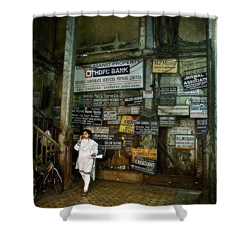 Mumbai Shower Curtain featuring the photograph A Lobby In Mumbai by Valerie Rosen