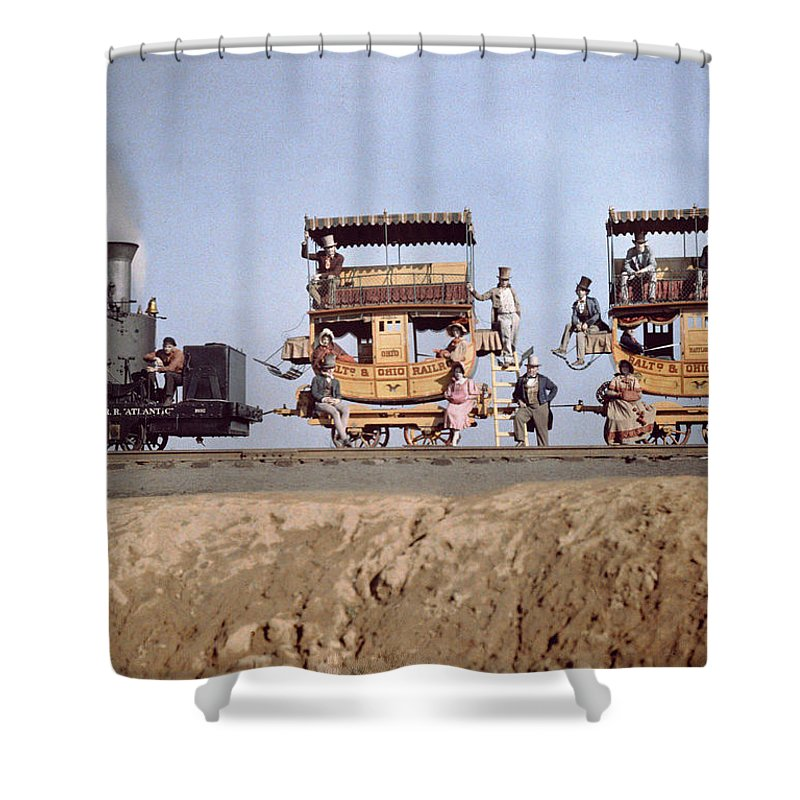Day Shower Curtain featuring the photograph A Locomotive And Two Coaches by Charles Martin