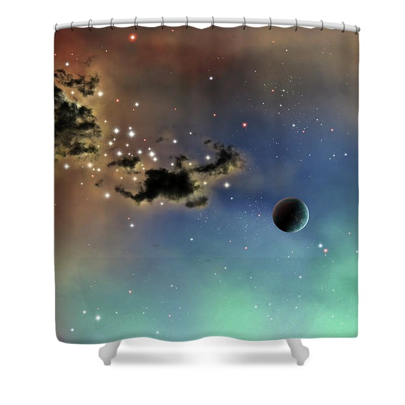Artwork Shower Curtain featuring the digital art A Lonely Planet Is Lit By Two Stars by Brian Christensen