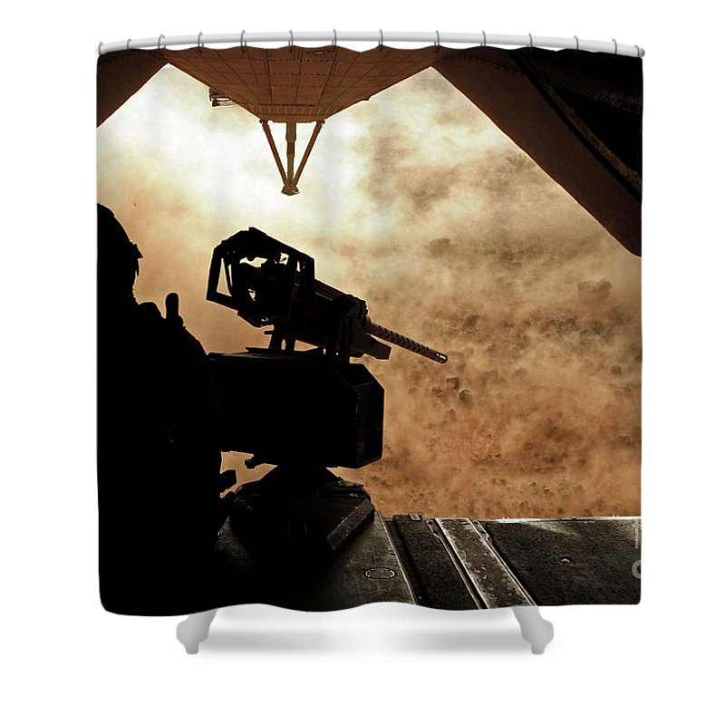 Dust Shower Curtain featuring the photograph A Marine Waits For Dust To Clear While by Stocktrek Images