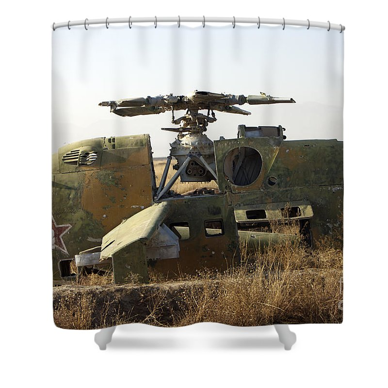 Russian Shower Curtain featuring the photograph A Mi-35 Attack Helicopter At Kunduz Air by Terry Moore