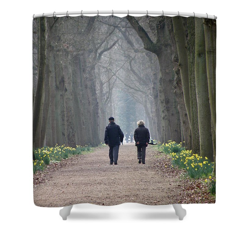 Forest Shower Curtain featuring the photograph A Peaceful Stroll by Lainie Wrightson