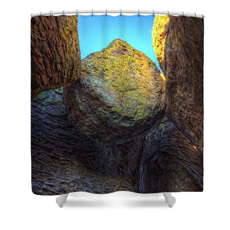 Light Shower Curtain featuring the photograph A Rock Balanced Precariously by Robert Postma