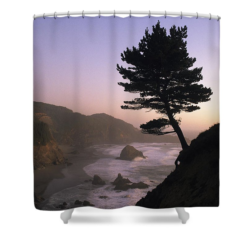 North America Shower Curtain featuring the photograph A Scenic View Of The Oregon Coast by Phil Schermeister