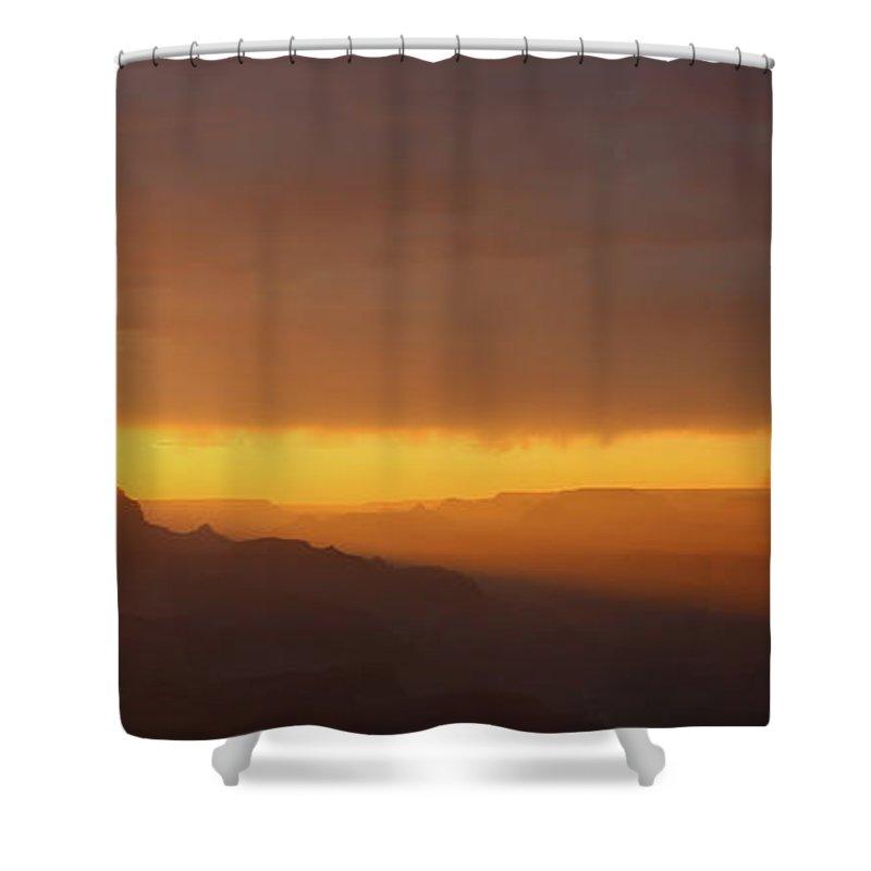 Shower Curtain featuring the photograph A Setting Sun Illuminates The Canyon by Heidi Smith