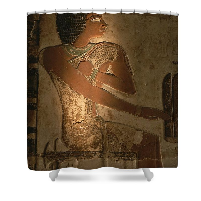 Africa Shower Curtain featuring the photograph A Stone Relief Depicts A Member by Kenneth Garrett