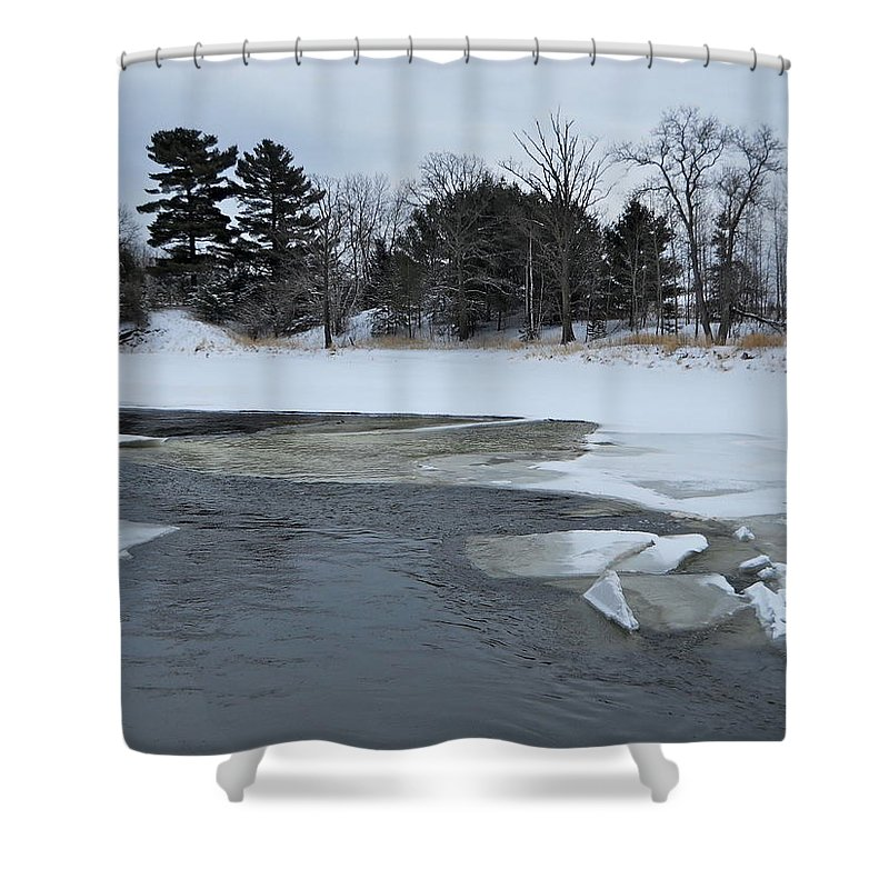 Mississippi River Shower Curtain featuring the photograph A Stream In Ice by Kent Lorentzen