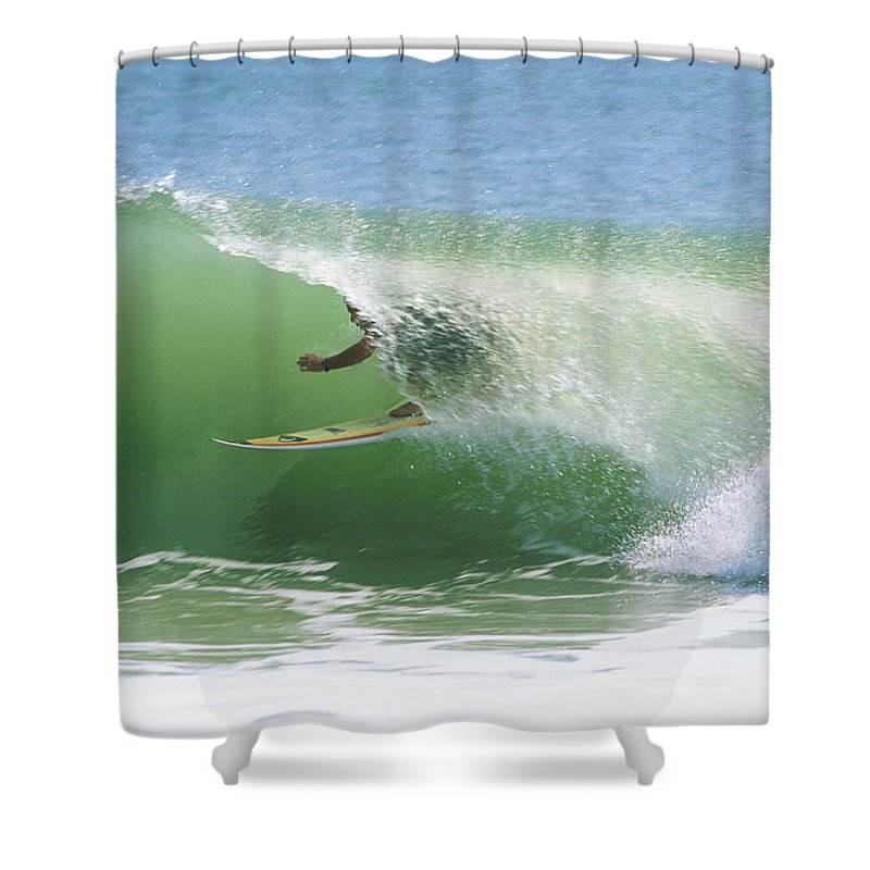 Outdoors Shower Curtain featuring the photograph A Surfer Shoots The Curl by Raymond Gehman