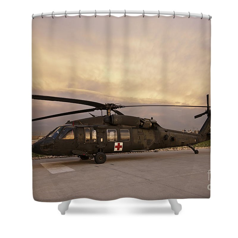 Blackhawk Shower Curtain featuring the photograph A Uh-60l Black Hawk Medevac Helicopter by Terry Moore