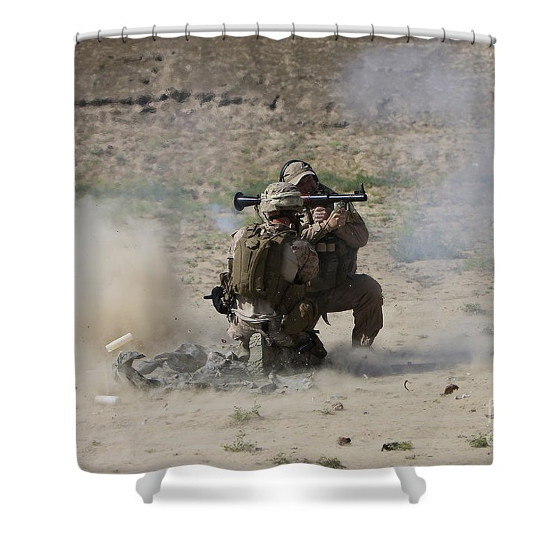 Soldier Shower Curtain featuring the photograph A U.s. Contractor Fires by Terry Moore
