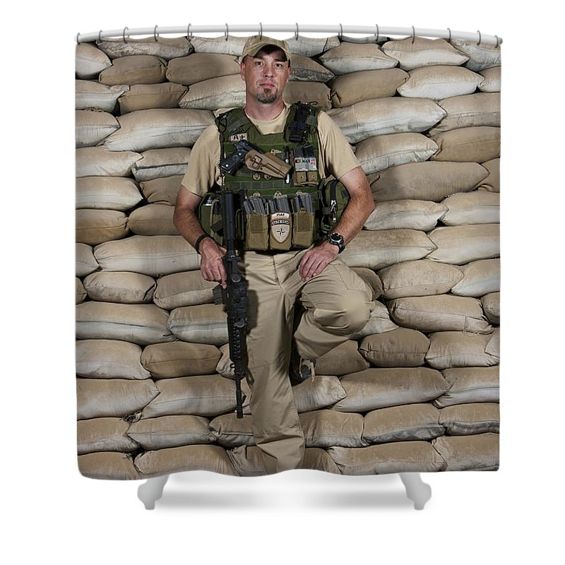 Operation Enduring Freedom Shower Curtain featuring the photograph A U.s. Police Officer Contractor Leans by Terry Moore