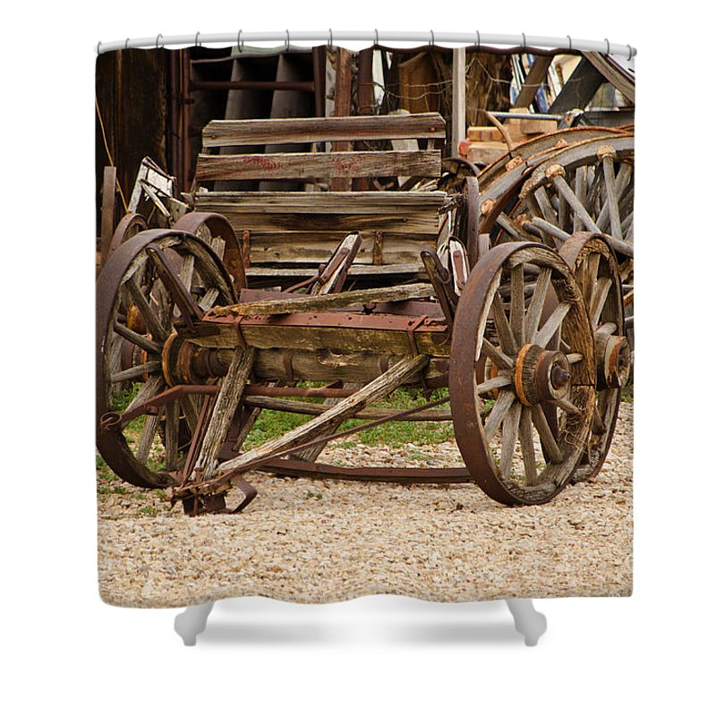 Fine Art Shower Curtain featuring the photograph A Wagon And Wheels by Donna Greene
