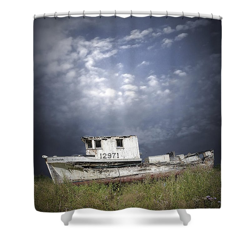 Art Shower Curtain featuring the photograph Abandoned Fishing Boat In Washington State by Randall Nyhof