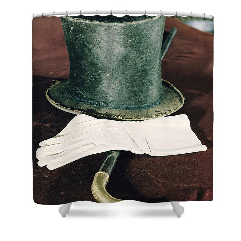 lincoln Shower Curtain featuring the photograph Aberaham Lincolns Hat, Cane And Gloves by Joe Scherschel