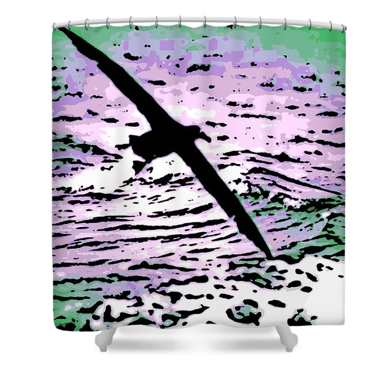 Flight Shower Curtain featuring the photograph Above The Waves by George Pedro