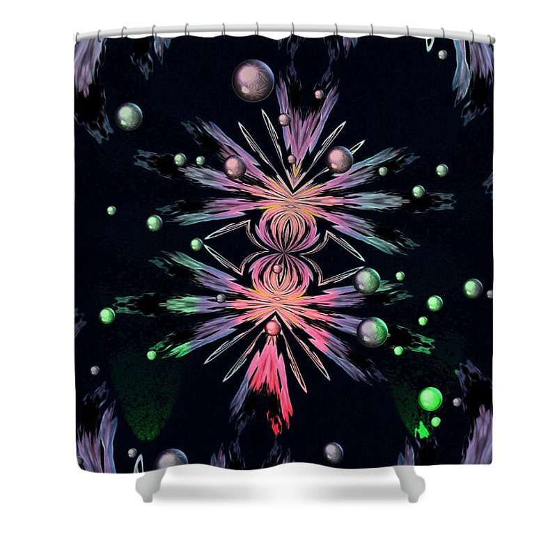 Abstract Shower Curtain featuring the digital art Abstract 014 by Maria Urso