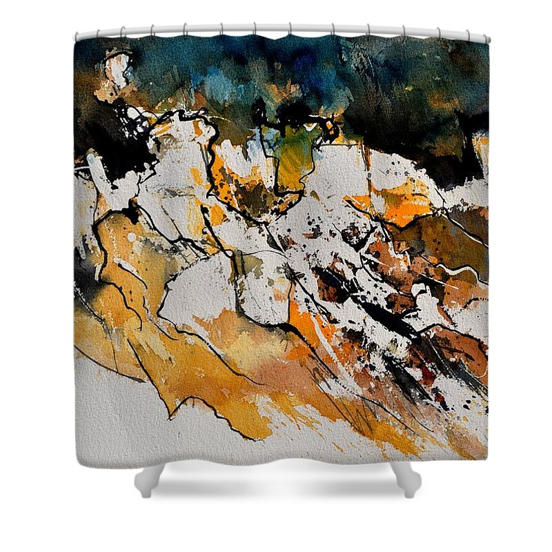 Abstract Shower Curtain featuring the painting Abstract 210152 by Pol Ledent