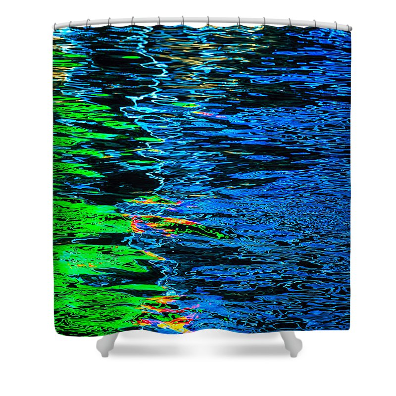 Reflections Of Lights On Water Shower Curtain featuring the photograph Abstract 262 by Mike Penney