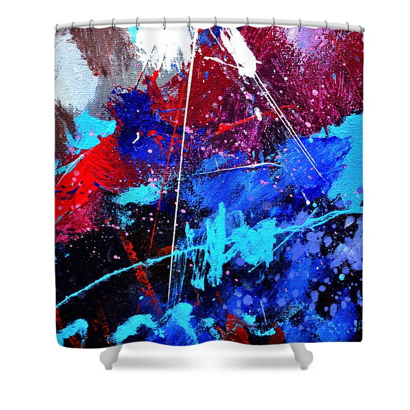Abstract Shower Curtain featuring the painting Abstract 71001 by Pol Ledent