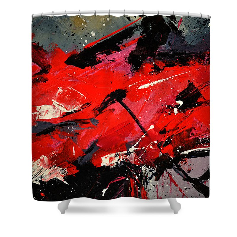 Abstract Shower Curtain featuring the painting Abstract 71002 by Pol Ledent