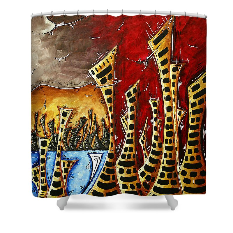 Abstract Shower Curtain featuring the painting Abstract Art Contemporary Coastal Cityscape 3 Of 3 Capturing The Heart Of The City II By Madart by Megan Duncanson