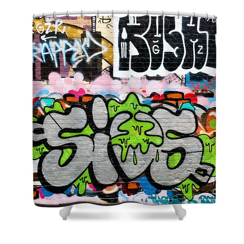 Abstract Shower Curtain featuring the painting Abstract Colorful Graffiti by Yurix Sardinelly