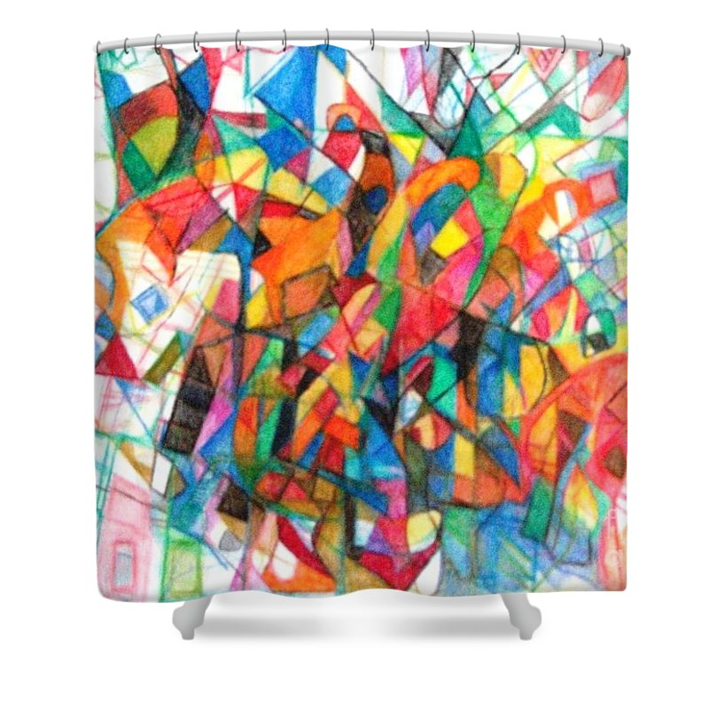 Abstract Art Shower Curtain featuring the drawing Simchas Torah 6 by David Baruch Wolk