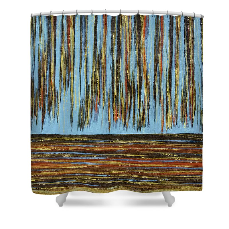 Abstract Shower Curtain Featuring The Painting Horizon Cobalt Teal Red Gold By Keith Webber