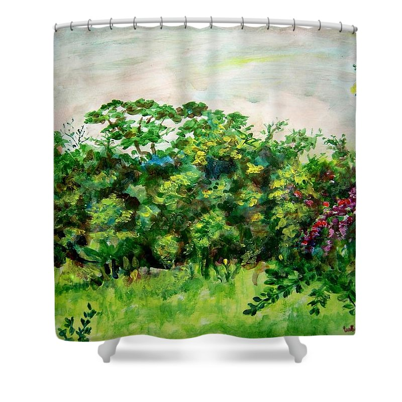 Abstract Shower Curtain featuring the painting Abstract Landscape 6 by Usha Shantharam