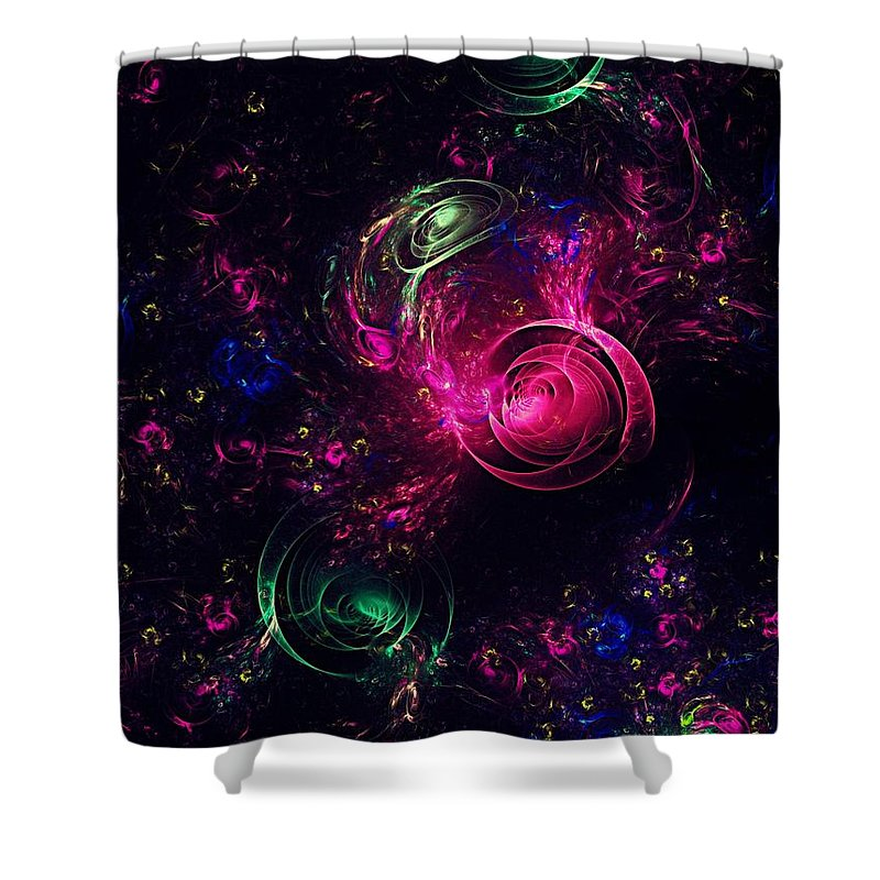 Abstract Shower Curtain featuring the digital art Abstract Roses by Klara Acel