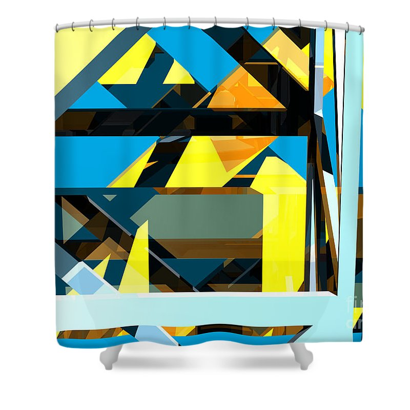 Abstract Shower Curtain featuring the digital art Abstract Sine L 15 by Russell Kightley